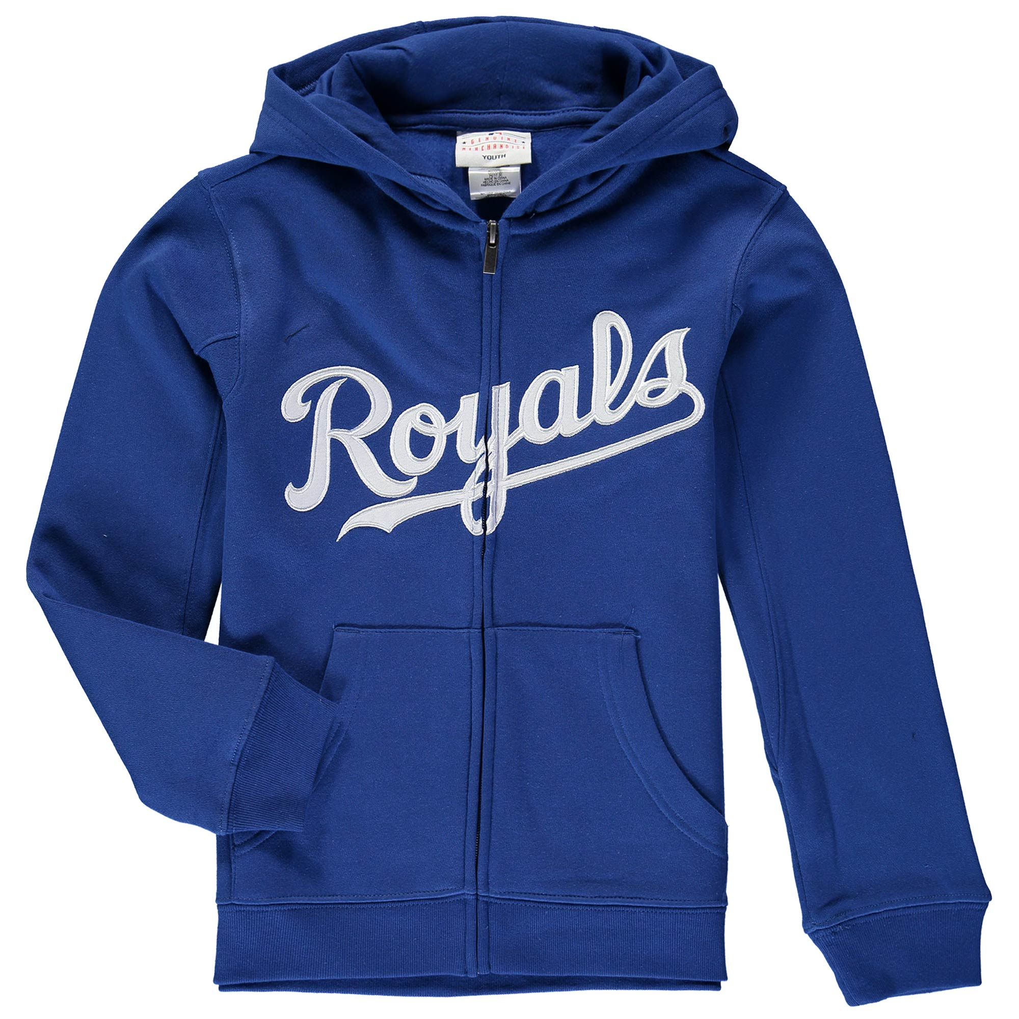 Kansas City Royals Youth Wordmark Full-Zip Hoodie - Royal