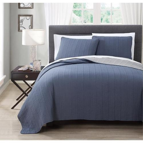 Benton Solid Reversable 3-piece Coverlet Set Queen Sage/ Beige
