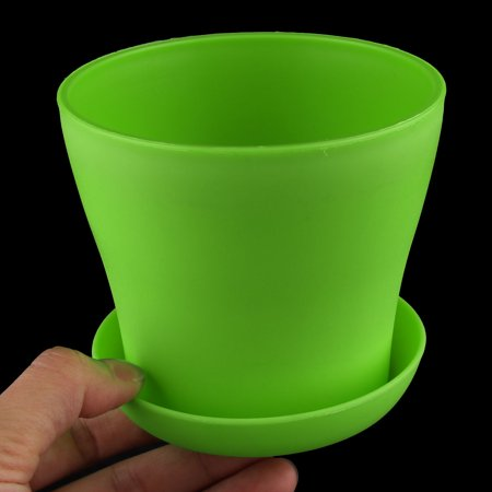 Desktop Plastic Round Flower Plant Succulent Seeds Pot Container Holder Green - image 4 of 4