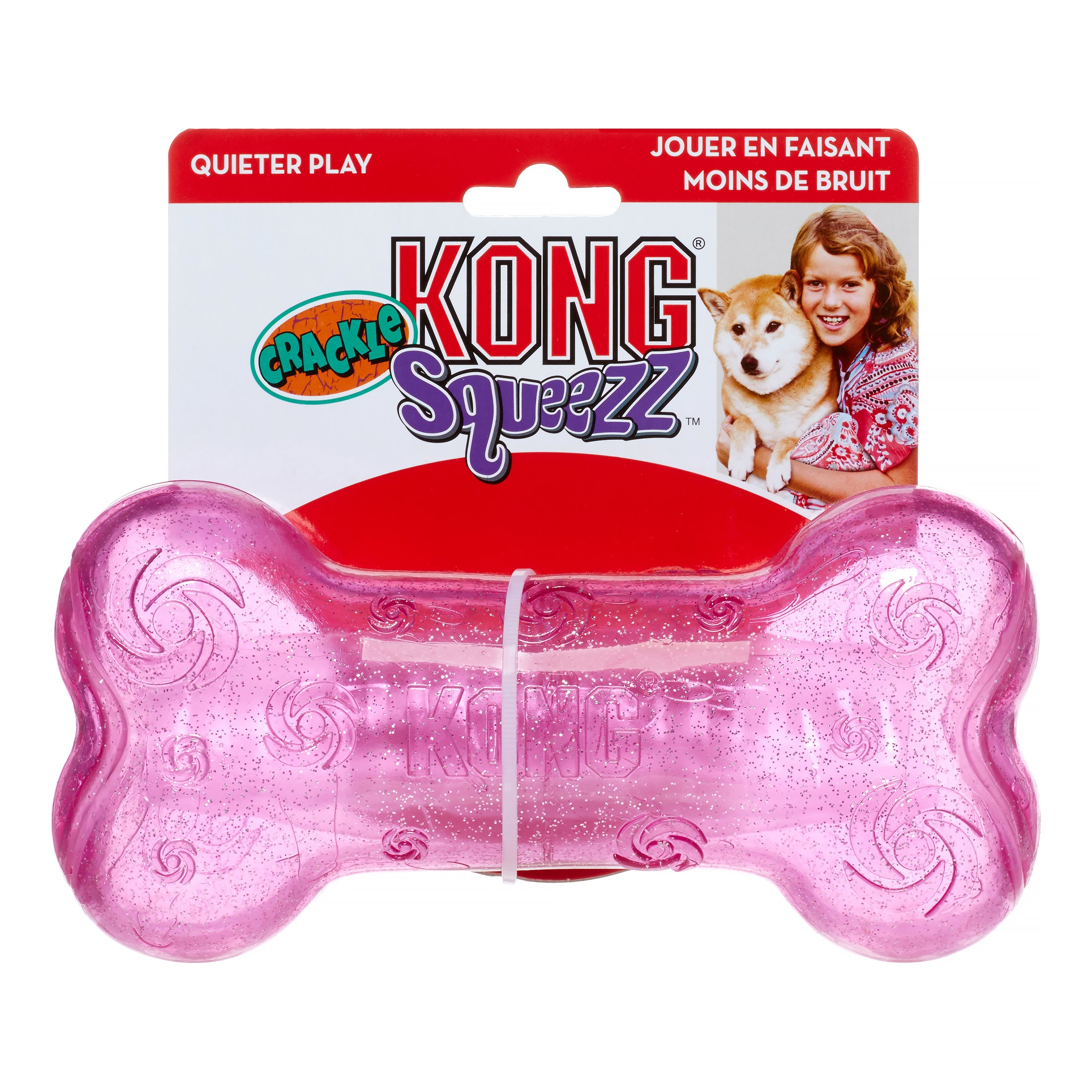KONG Squeezz Crackle Bone Dog Toy, Assorted, Large