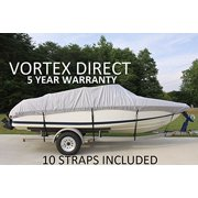 VORTEX HEAVY DUTY 24 FT *GREY/GRAY* VHULL FISH SKI RUNABOUT COVER FOR 22' to 23' to 24' FT FOOT BOAT (FAST SHIPPING - 1 TO 4 BUSINESS DAY DELIVERY)