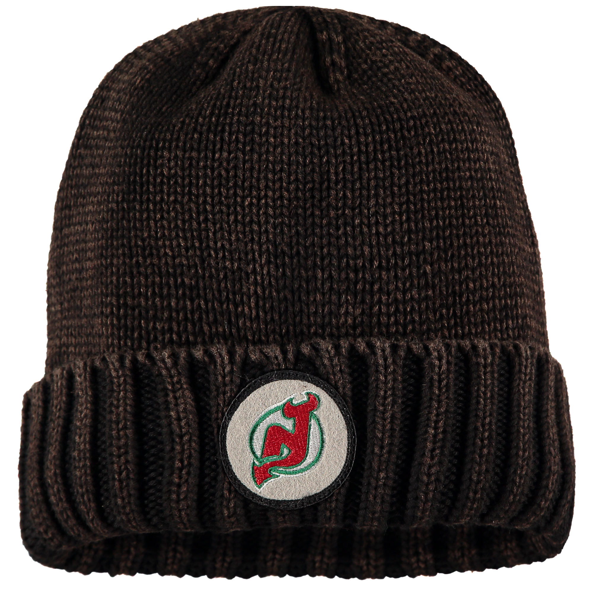 New Jersey Devils Mitchell & Ness Vintage Ribbed Cuffed Knit Hat - Brown - OSFA