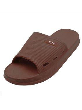 SLM Men's Soft Rubber Cushion Slip On Casual Bathroom and House Slide Sandals