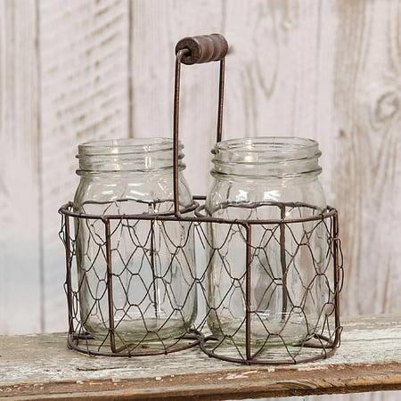 Mason Jars in Chicken Wire Basket ()