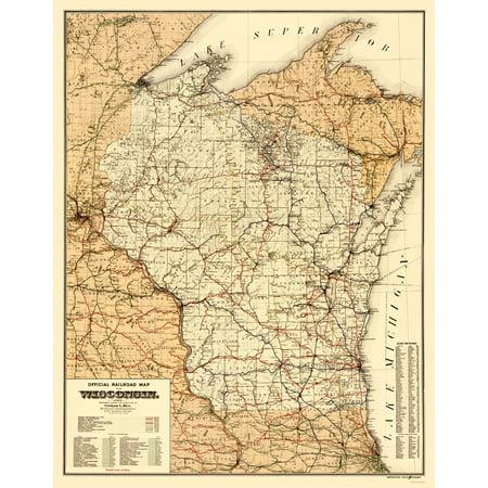 Old Railroad Map   Wisconsin Railroads   Rice 1900   23 X 29 36
