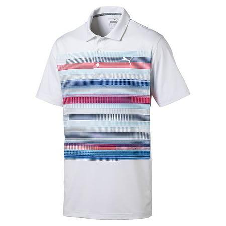 Puma Pixel Polo Mens Golf Shirt White Coral 57327301   New 2017