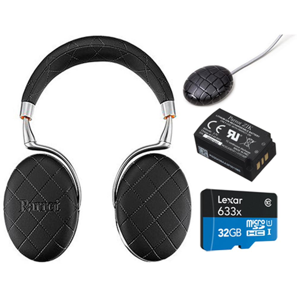 Parrot Zik 3 Wireless Noise Cancelling Headphones with Wireless Charger, Battery + Lexar 32GB MicroSDHC UHS-I 633X High-Performace Memory Card Bundle (Black Overstitched)