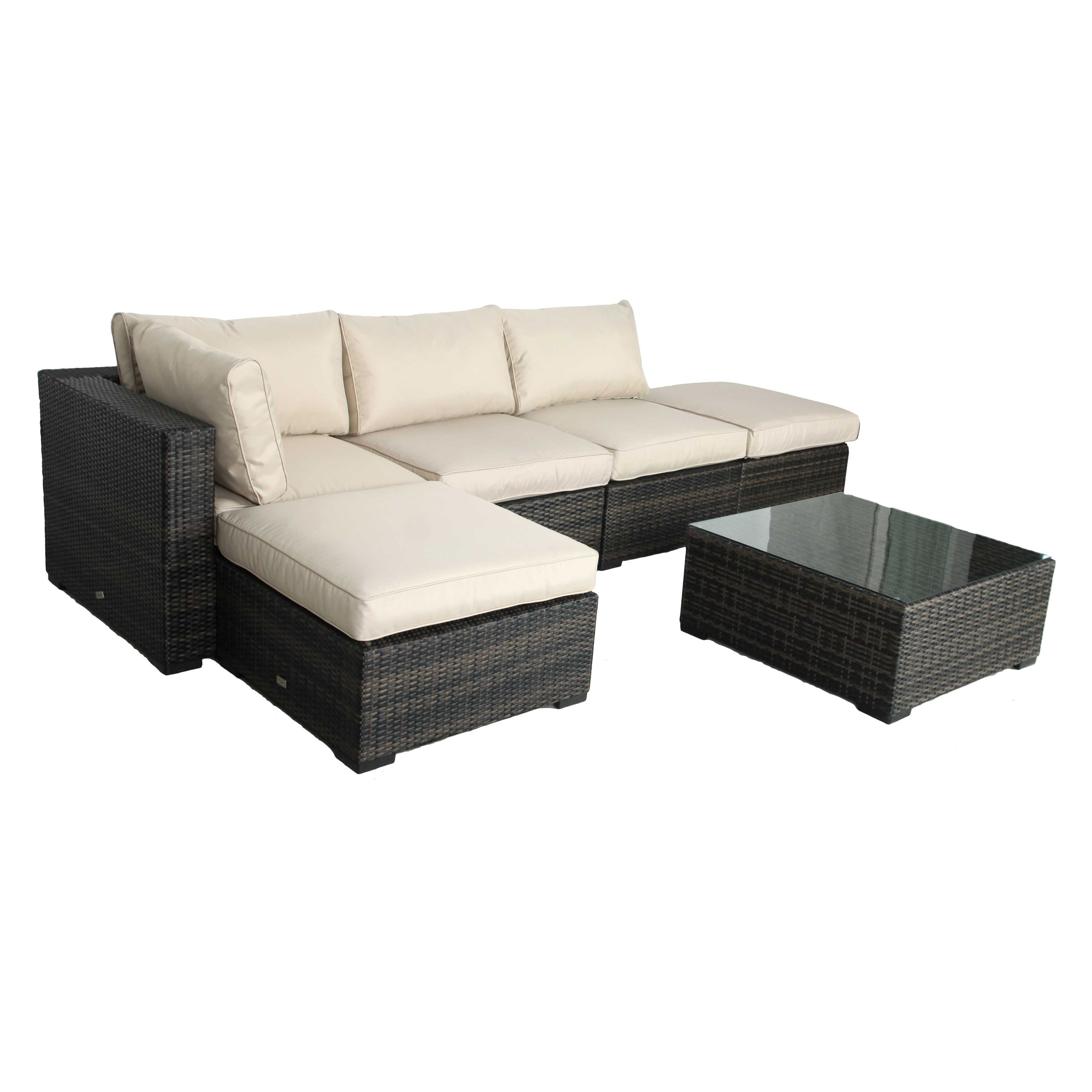 Creative Living South Hampton 6 Piece Wicker Sectional Set with Ottomans by Creative Living