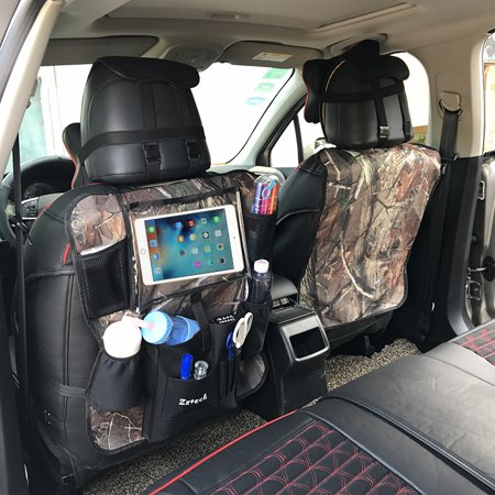 Camo Hunting Car Back Seat Organizer with iPad / Tablet Holder Touch Screen - Kids Toy Storage bags, Auto Seat protector, - for Baby Stroller &Travel Accessories - Comes with Bonus camouflage Kick Mat