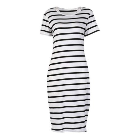 EFINNY Women's Summer Short Sleeve Striped Long Maxi Casual Party Dress