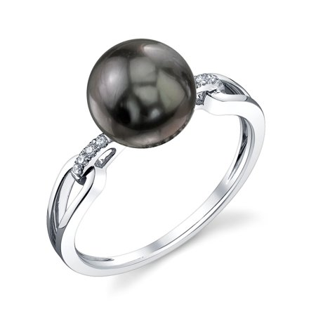 9mm Tahitian South Sea Cultured Pearl & Diamond Holly Ring in 14K Gold
