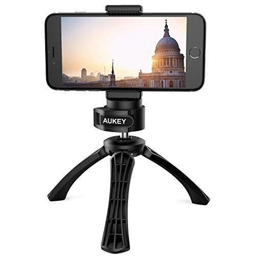 "AUKEY iPhone Tripod with Mount, Photo Video Tripod for Digital Camera DSLR with 1/4"" Screw, Cell Phone Tripod for iPhone 7, 6s Plus, Samsung Note 7, Android Smartphones"