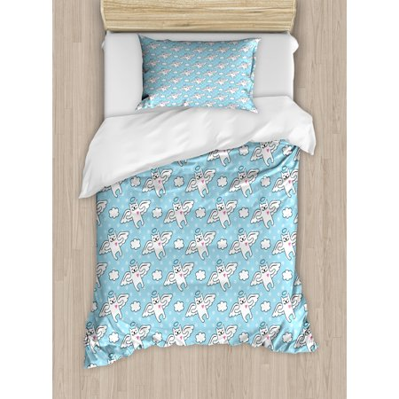 Angel Twin Size Duvet Cover Set, Cat Angels Flying High Hearts Happiness Kids Nursery Kitty Love Heavenly Wings, Decorative 2 Piece Bedding Set with 1 Pillow Sham, Sky Blue White, by