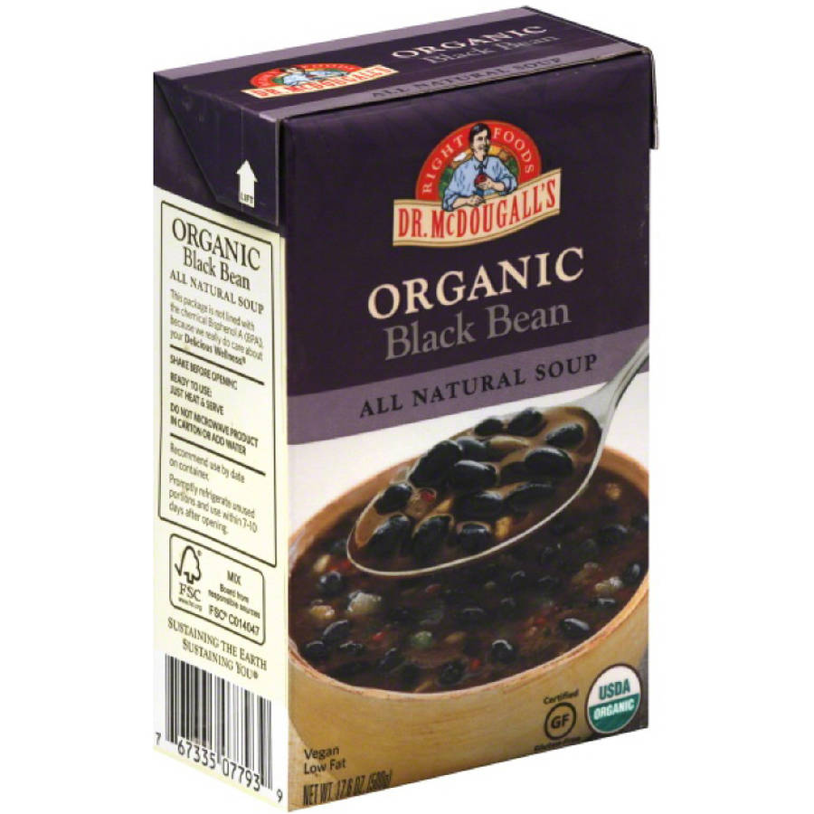 Dr. McDougall's Organic Black Bean All Natural Soup, 17.6 oz, (Pack of 6)