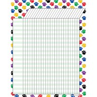 COLORFUL PAW PRINTS INCENTIVE CHART 17 X 22