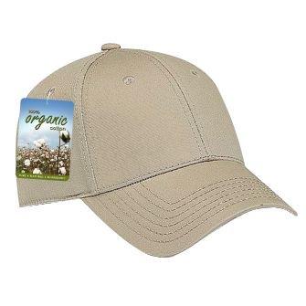 wholesale 12 x otto organic superior cotton twill 6 panel low profile baseball cap - khaki - (12 pcs)