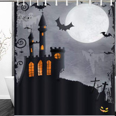 WOPOP Halloween Haunted Castle Bats Ghosts Holidays Parks Outdoor Shower Curtain 60x72 - Holiday Park Halloween Song