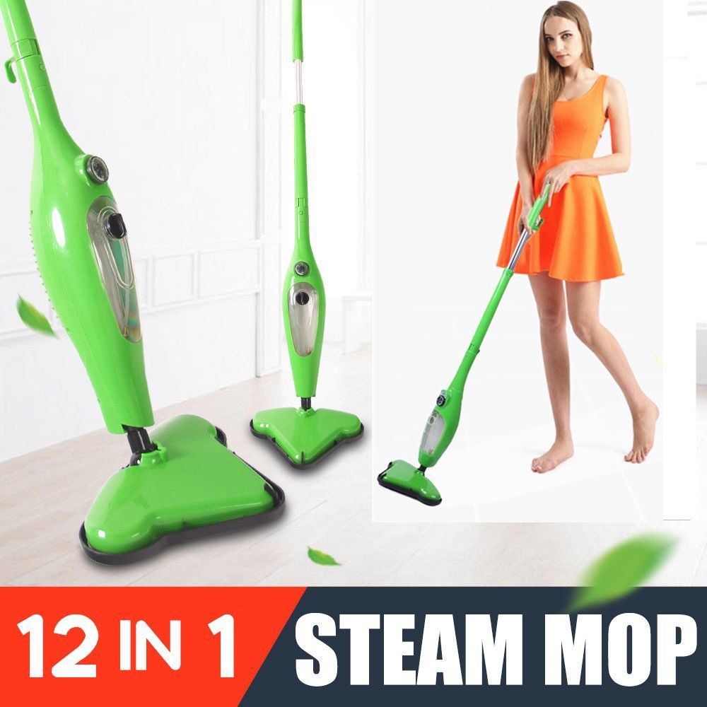 Floor Steam Vacuum Cleaner Cleaning Sweeper Steamer Deluxe Steam Pockets Mop Home Furnishing Supplies Green