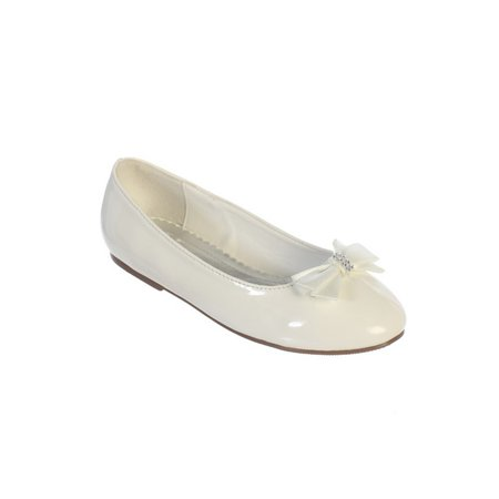 Girls Ivory Leather Satin Rhinestone Center Bow Accent Patent Flats