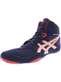 63ad3440086d4b Asics Men s Snapdown Navy   Silver Red High-Top Suede Wrestling Shoe - 11M