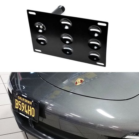 Ijdmtoy No Drill Front Bumper Tow Hole Adapter License Plate Mounting Bracket For Porsche 911 924 Boxster  Etc