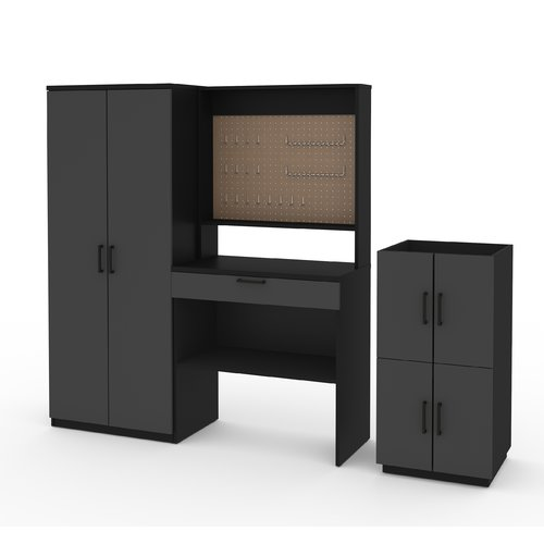 Rebrilliant Chavez 4 Piece Workbench, Armoire and 2 Stackable Cabinets Set