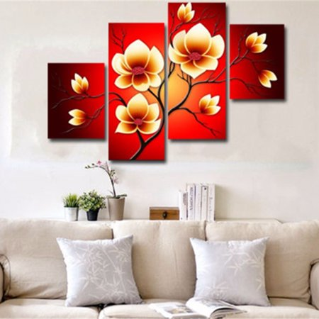 Meigar 4pcs Modern Abstract Flowers Huge Wall Decor Art Oil Painting On Canvas No Frame
