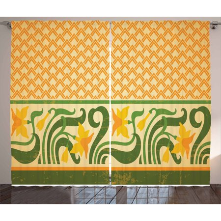 Art Nouveau Curtains 2 Panels Set, Fresco Ornament Geometric Pattern with Exotic Daffodil Floral Border, Window Drapes for Living Room Bedroom, 108W X 108L Inches, Orange Yellow Green, by Ambesonne