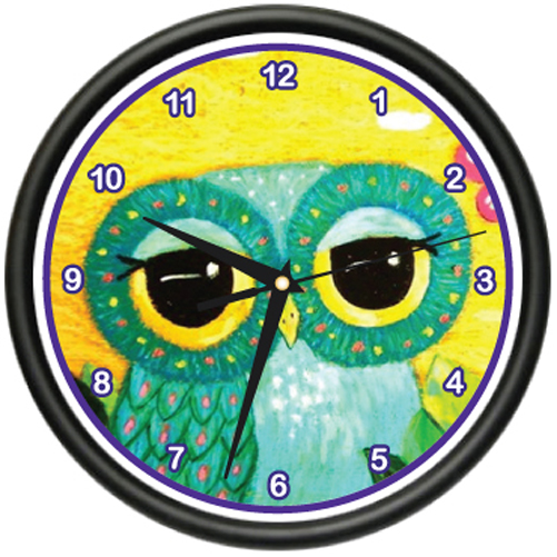 CUTE OWL Wall Clock girly owl wide eye cute adorable nocturnal birds gag gift