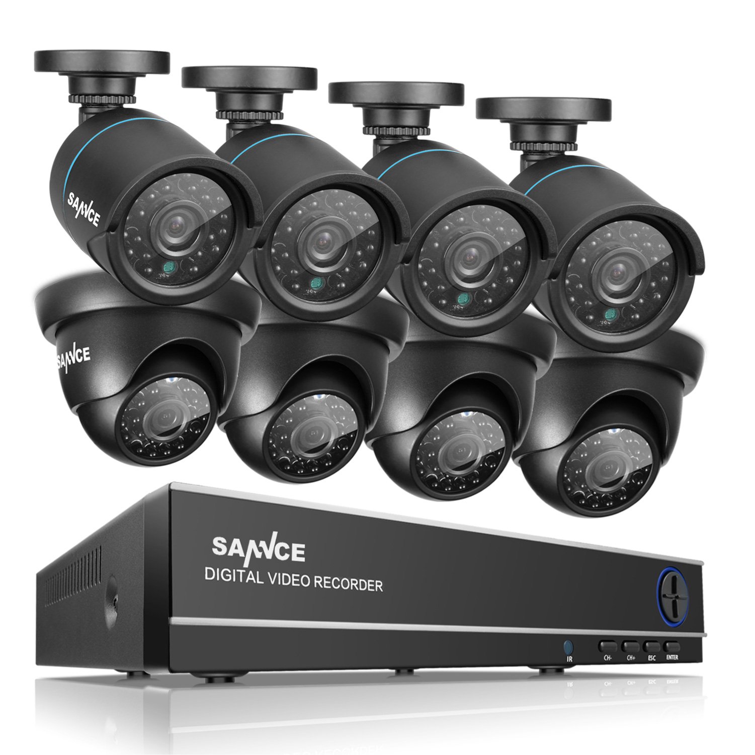 SANNCE 8CH Full 1080N Security Camera System CCTV DVR and (8) 720P Night Vision Surveillance Cameras, IP66 Weatherproof , P2P Technology/E-Cloud Service, QR Code Scan Remote Access -No HDD