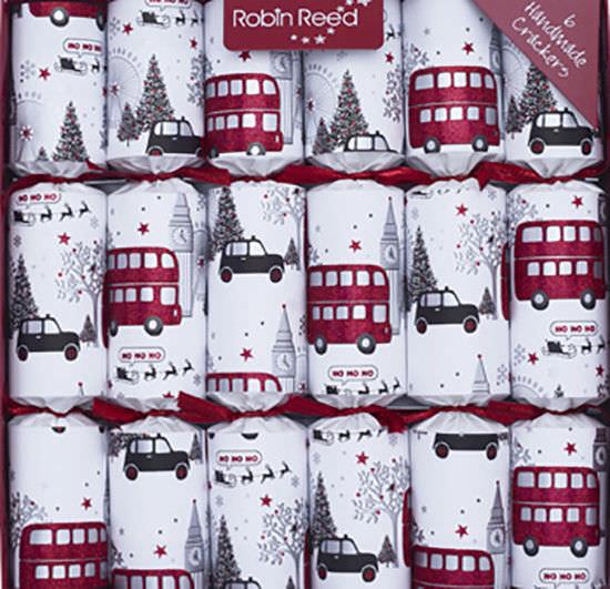 Robin Reed English Holiday Christmas Crackers, Pack of 6 - London Sights