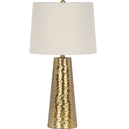 "Virtue Home Fucina Table Lamp, Brushed Gold Finish, 25.50""H, Natural Linen Shade 081-26G"