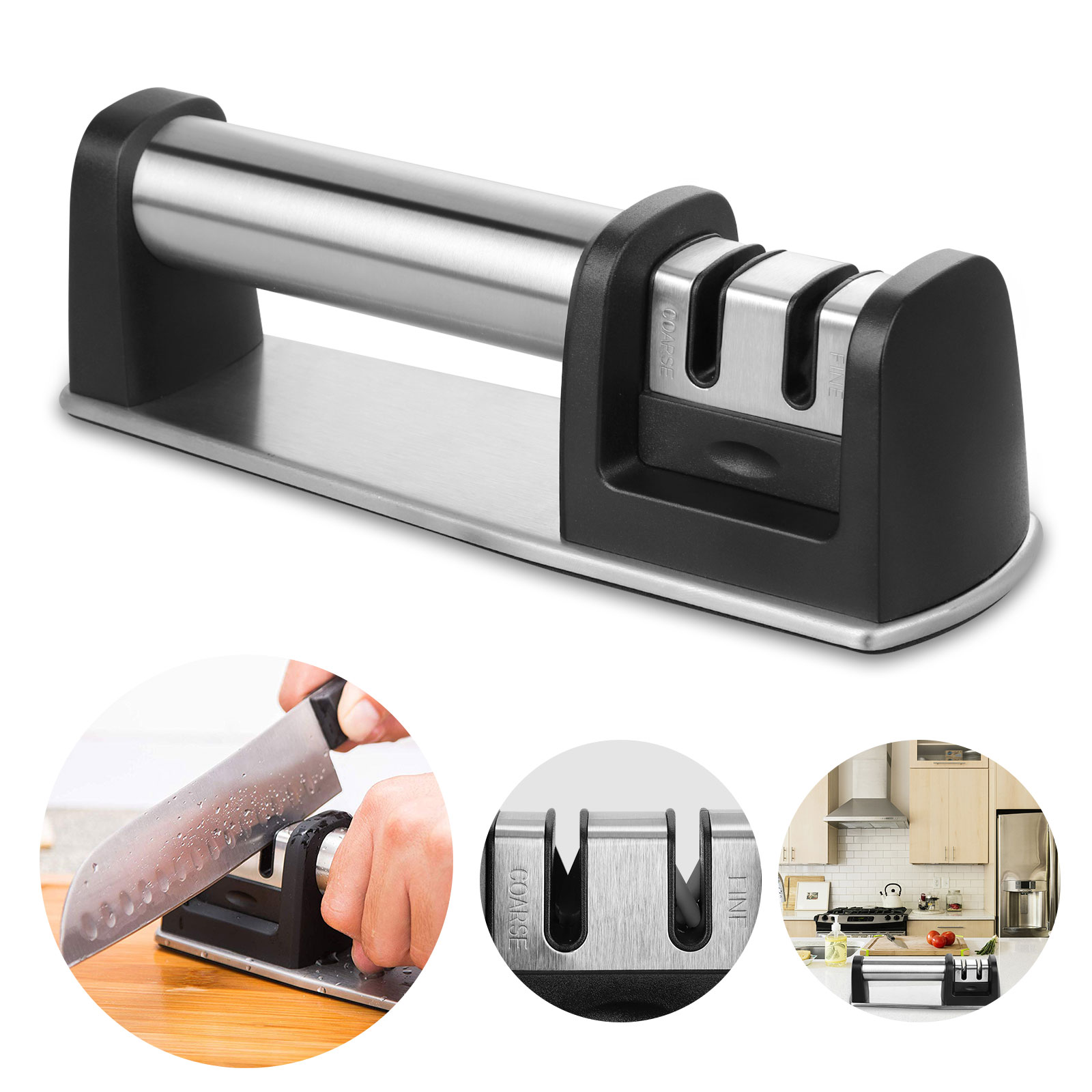 Kitchen Knife Sharpener - Knife Sharpening Tool, 2-Stage Knife Sharpening Tool Helps Repair, Restore and Polish Blades - Safe and Easy to Use, Black