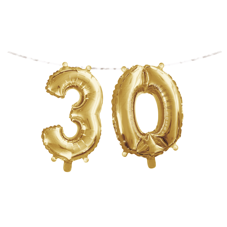 "Milestone Birthday Balloon Banner 16""L x 5'L ""30"" Gold, Case of 24"