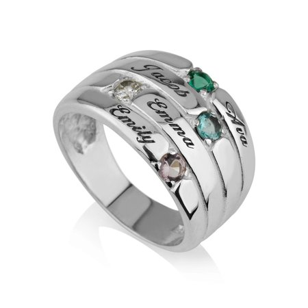 Mothers Ring Engraved simulated Birthstone Ring 4 Stone Ring -925 Sterling Silver - Personalized & Custom