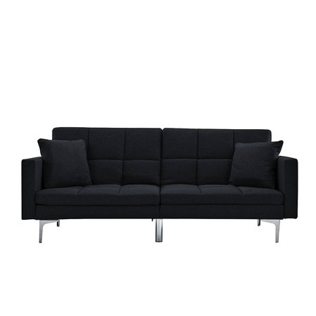 Modern Plush Tufted Linen Split back Living Room Futon, Sofa for Small Space (Black)