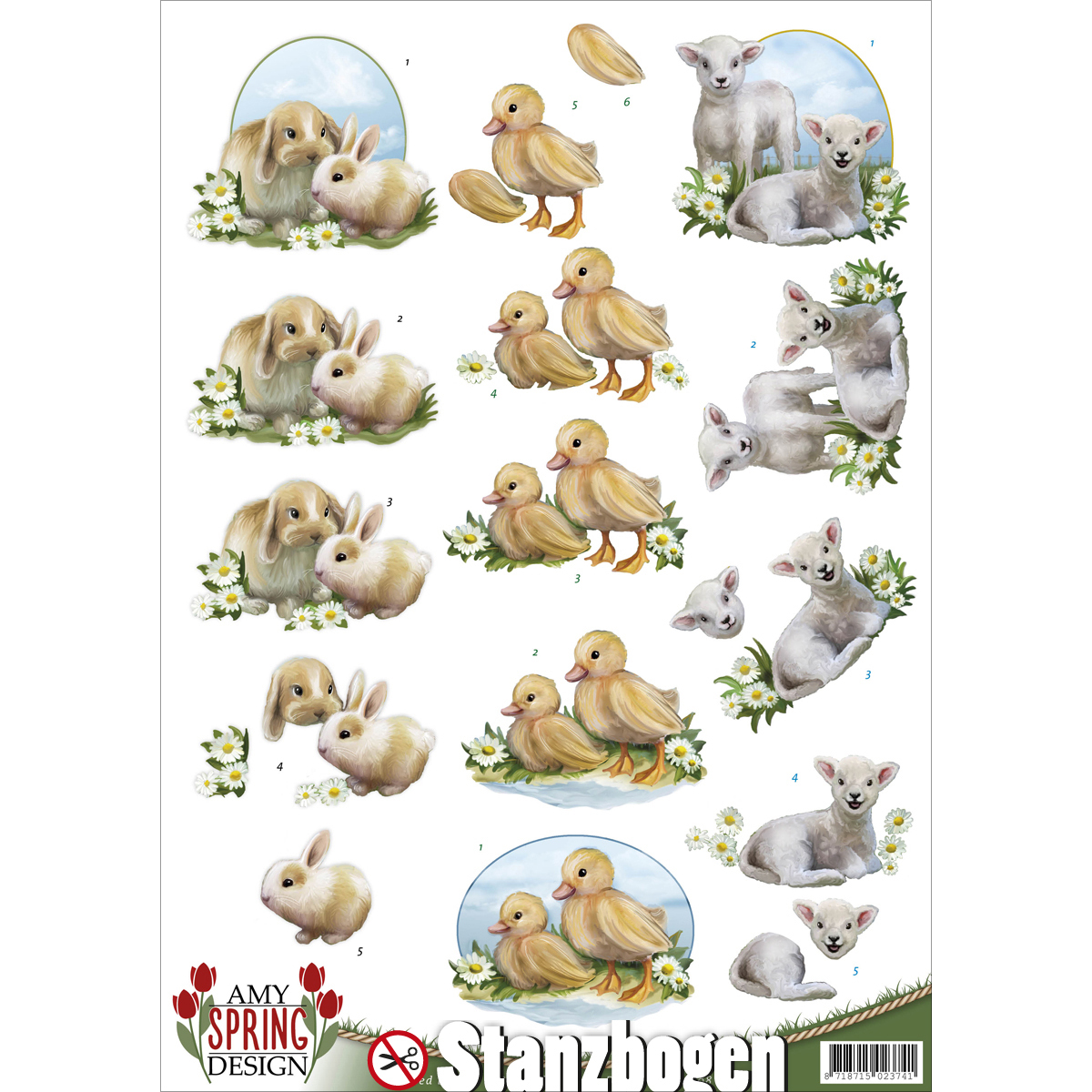 Find It Amy Design Spring Punchout Sheet-Bunny, Chick & Lamb