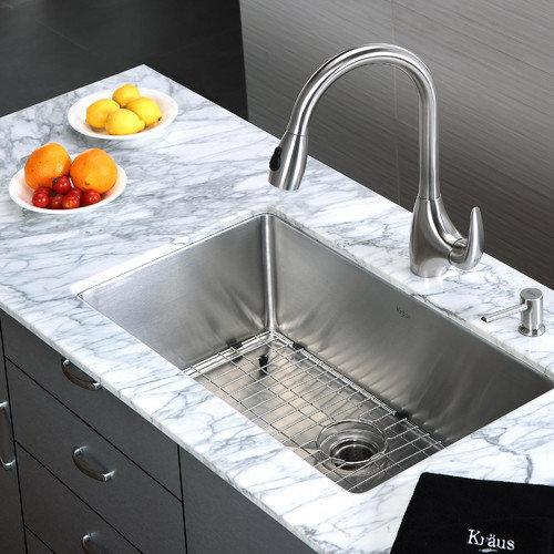 Kraus 30'' x 18'' 6 Piece Undermount Single Bowl Kitchen Sink Set