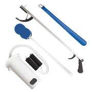 Rehabilitation Advantage Economy 4 Piece Hip/Knee/Back Replacement Kit - Sock Aid, Reacher, Shoehorn, Sponge