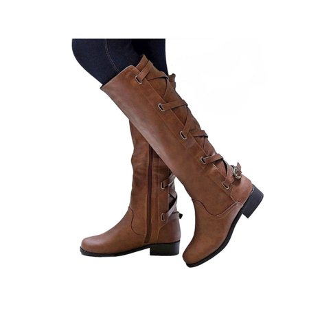 9b91b5a79a3 Womens Knee High Boots Lace Up Combat Faux Leather Block Heels Motorcycle  Shoes