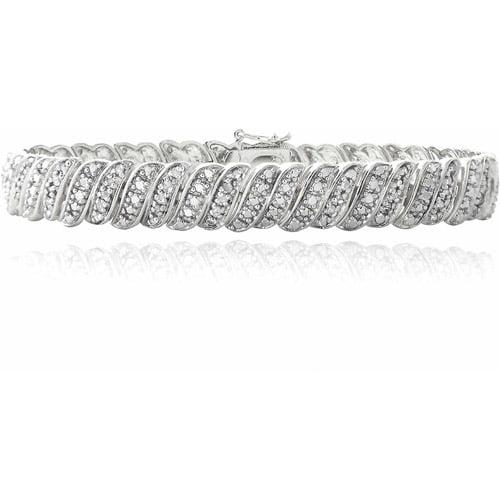 1 Carat T.W. Diamond Silver-Tone Wave Link Tennis Bracelet by Top Seller