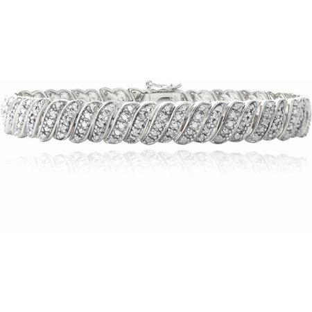 1 Carat T.W. Diamond Silver-Tone Wave Link Tennis (Diamond Tennis Estate Bracelet)