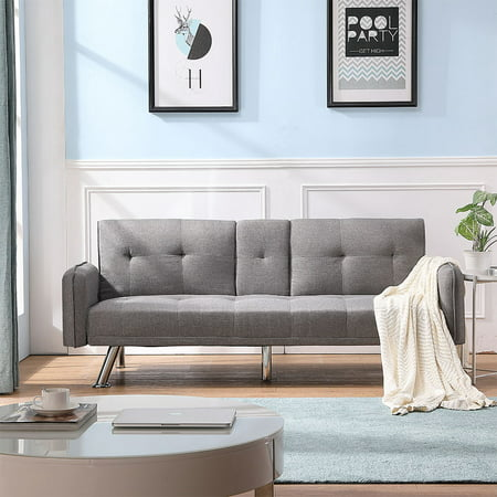 Sofa Sleeper, Modern Twin Sofa Sleeper Bed with Metal Legs, SEGMART Light Gray Futon Sofa Bed Recliner Couch with 2 Cup Holders for Small Spaces Living Room Bedroom, 300 LBS Weight Capacity, L5288
