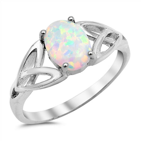 CHOOSE YOUR COLOR Solitaire White Simulated Opal Celtic Knot Ring .925 Sterling Silver Band