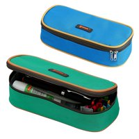 IPOW Pencil Case, 2 Pack Canvas Pencil Boxes Double Zipper Pencil Pouch Bag Big Capacity Pen & Pencil Box Organizer for Kids Gilrs Boys, Perfect for School and Office Stationery Storage, Blue & Green