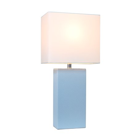 Elegant Designs Modern Leather Table Lamp with White Fabric Shade, Periwinkle - image 3 of 4
