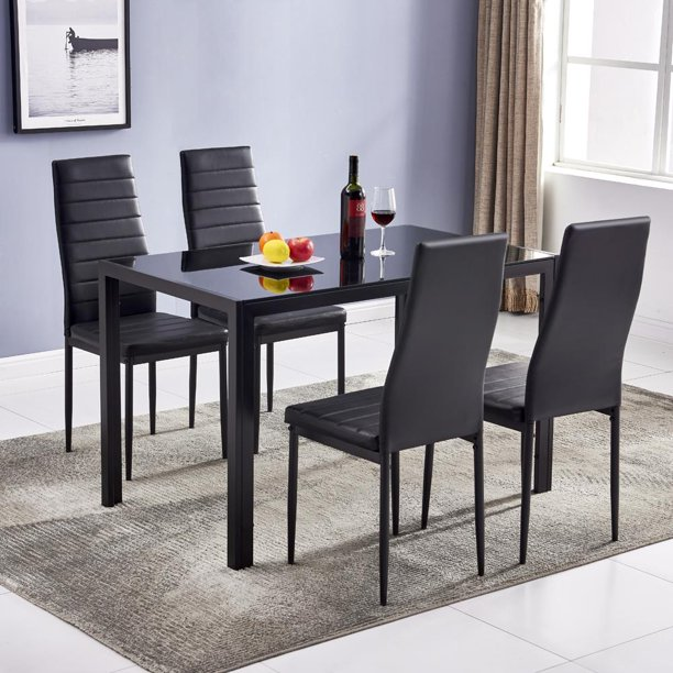 Zimtown Dining Table Set, 5 Piece Kitchen Table Set with Glass Table Top 4 Leather Chairs Dinette (Black)