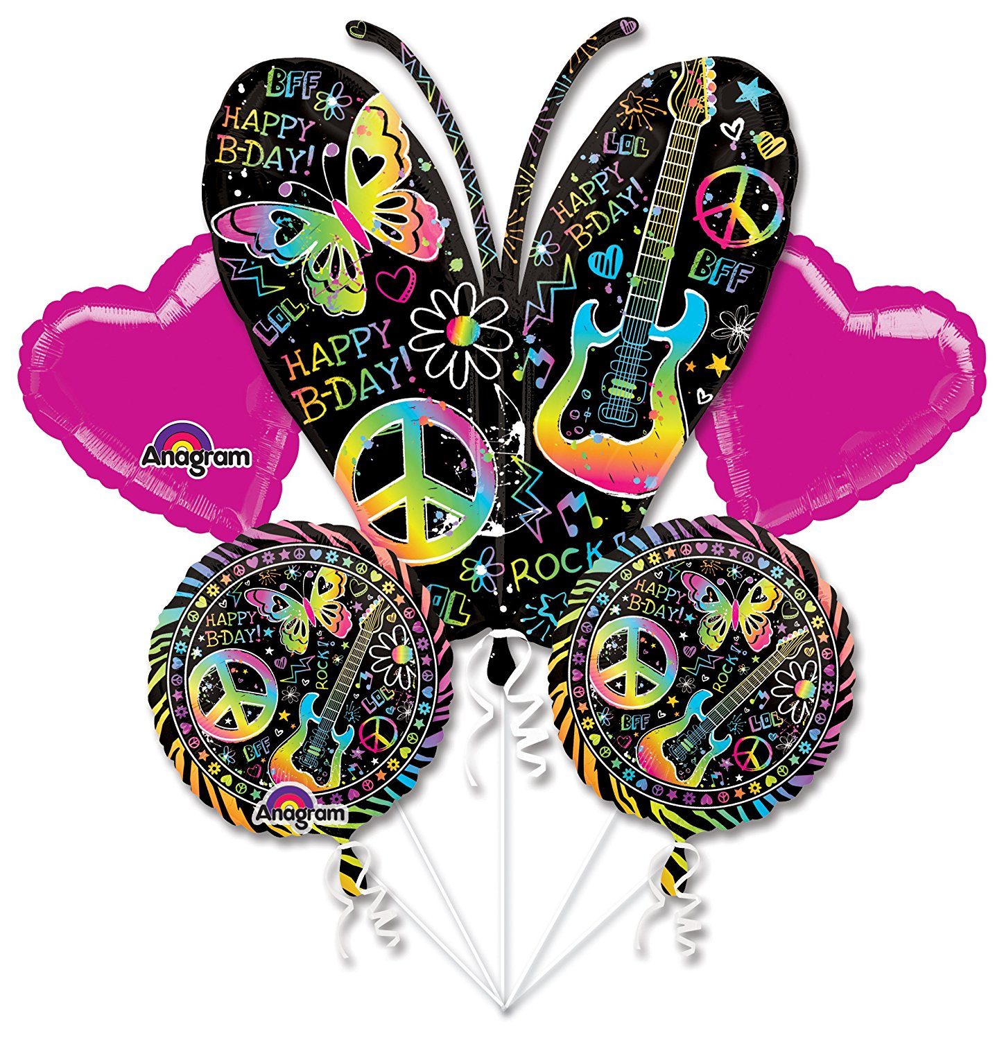 Mayflower BB102628 Neon Birthday Balloon Bouquet1 Balloon Bouquet per package By Anagram