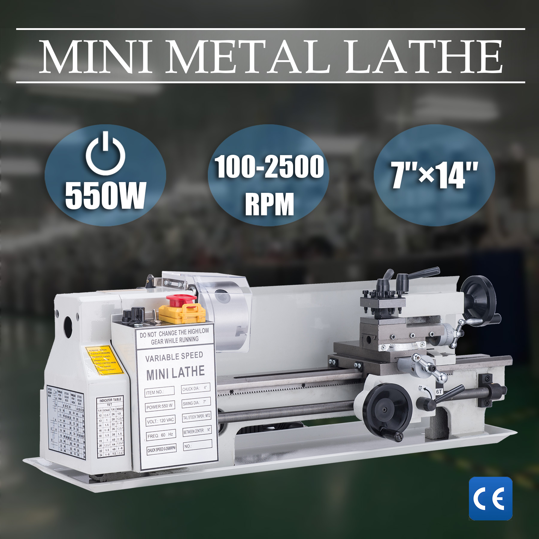 Mini Metal Lathe Bed 550W with Heat-Treated Lathe Bed