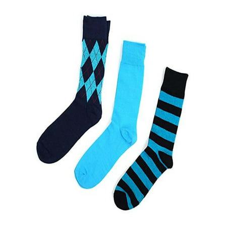 Pairs Fancy Dress Ideas (Men's Blue Fancy Multi Design Dress Socks Gifts Set 3)